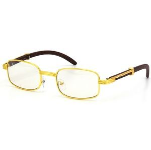 Other - Migos Faux Wood Gold Frame Clear Glasses